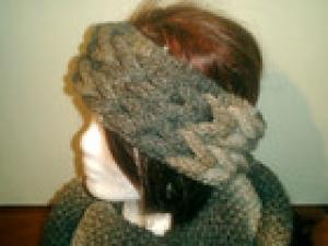 Stirnband RAPUNZEL gestrickt aus Wolle mit Farbverlauf Beige- braun handgestrickt (Kopie id: 100147899)