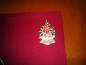 2 Festliche Platzdeckchen, Rot, Weihnachten