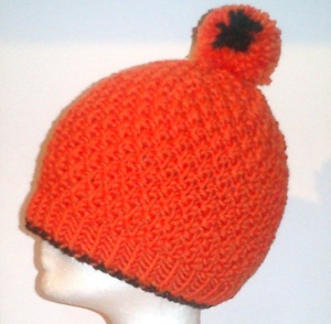 Handgestrickte Skimütze Strickmütze mit Bommel 100 % Wolle