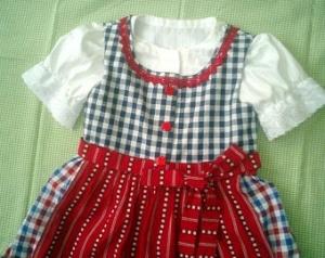 Mädchen Kleid, Dirndl, Trachtenkleid, Baumwollkleid, Kleid mit Schürze