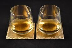 Untersetzer / Glasuntersetzer vergoldet, Schiefer, 2er Set
