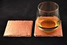 2er-Set Glasuntersetzer veredelt mit Blattkupfer, Schiefer
