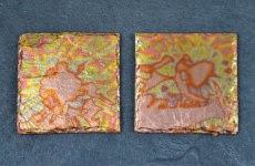 Untersetzer / Glasuntersetzer vergoldet mit oxidiertem Blattmessing, Schiefer, 2er Set