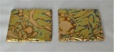 2er-Set Glasuntersetzer vergoldet mit oxidiertem Blattmessing, Schiefer
