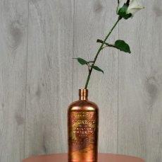 Dekoflasche / Kerzenhalter / Blumenvase, vergoldet mit oxidiertem Blattmetall