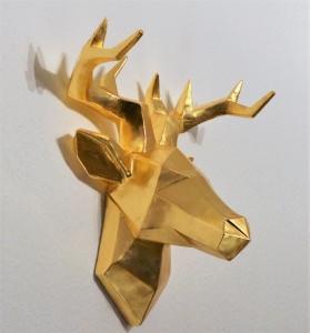Hirschkopf Wanddeko, gold/vergoldet mit Blattmetall