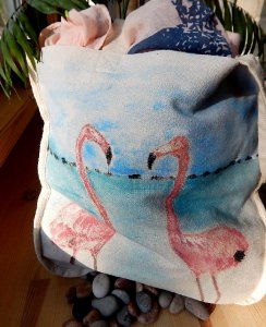 Naturbeutel ♡Rosa Flamingos