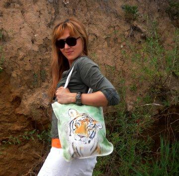 Zwei Taschen in ★Family look★ Tiger & Beutel & Naturbetel