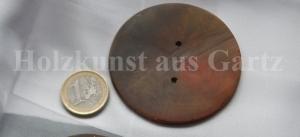 64mm großer handgefertigter runder Knopf, dunkel gebeizt - Handarbeit kaufen