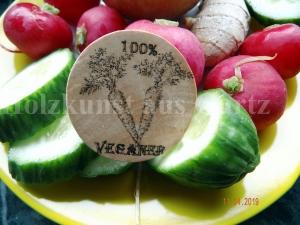 Statementbutton - 100% Veganer - - Holzbutton - Anstecker - Handarbeit kaufen