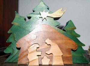 Weihnachtskrippe aus Holz ★17cm ★Unikat★handgefertigt