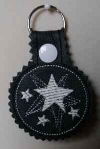 Schlüsselanhänger Sterne Leder Schwarz