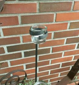 Teelichthalter - Windlicht - Gartenlicht - aus Metall inkl. Glas und Teelicht - sehr robust ! - Handarbeit kaufen