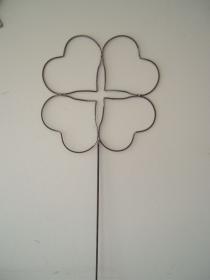 Vierblättriges Kleeblatt aus Metall - Gartenstecker - Glücksbringer - Viel Glück