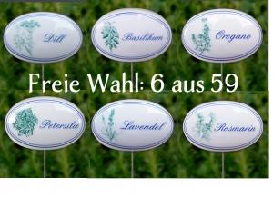 6 St. aus 59 Kräuterschildern mit Pflanzenskizze, blauer Schrift und blauen Zierrand. Porzellanschild mit Stab aus Edelstahl.