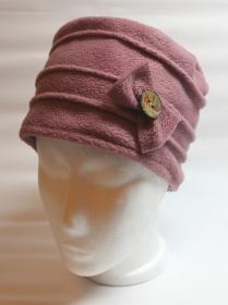 Hut-Mütze aus Polarfleece mit Schleife und handbemaltem Kokosknopf (Kopie id: 100149498) (Kopie id: 100149499) (Kopie id: 100149500)