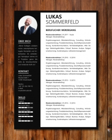 Anpassbare Word Bewerbungsvorlage LUKAS SOMMERFELD (schwarz-weiß)