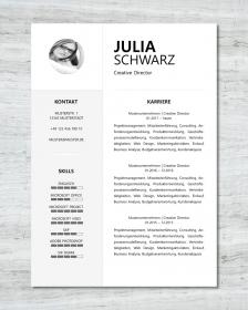 Anpassbare Word Bewerbungsvorlage JULIA SCHWARZ