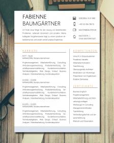 Anpassbare Word Bewerbungsvorlage FABIENNE BAUMGÄRTNER (orange)