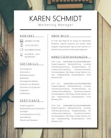 Anpassbare Word Bewerbungsvorlage KAREN SCHMIDT
