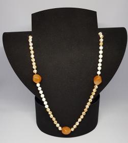 Achat/Aventurin Halskette, Länge 69cm,  handgeknüpft