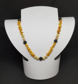 Bernstein, Calcit, Lava Halskette Länge 46cm, handgeknüpft