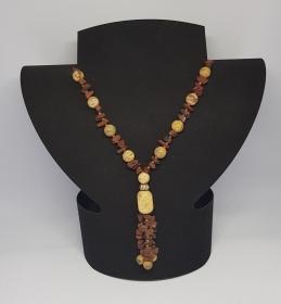 Amethyst- Bergkristall und Landschafts Jaspis-Mahagoni Obsidian Halskette; Länge 45cm