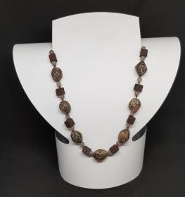 Leoparden Jaspis/ Lava/ Achat Halskette Länge 53 cm handgeknüpft