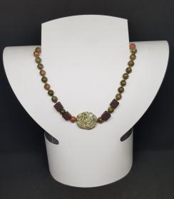 Unakit,Moosachat,Lava Halskette Länge 49 cm ,handgeknüpft
