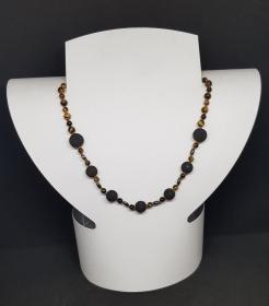 Tigeraugen, Lava, Hämatit Halskette Länge 48cm, handgeknüpft