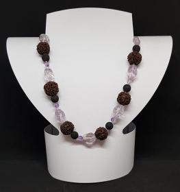 Amethyst/Lava/Indische Nuss Halskette,handgeknüpft,Länge 53cm