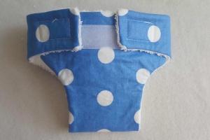 Puppenwindel in blau mit Nässestop-Einlage = wiederverwendbar