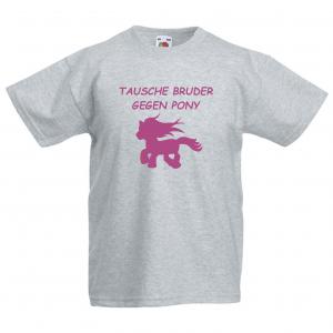 TAUSCHE BRUDER GEGEN PONY   - Fun Shirt für Mädchen - Personalisiert