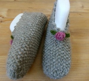 Haussocken, Puschen, Hausschuhe Gr. 37-38 aus Islandwolle