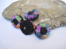 Blütenknöpfe Häkelknöpfe Farbtupfer, Knöpfe, Buttons