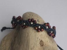 Armband, Macrame + Perlenmischung, Macrameschmuck, micro Macrame