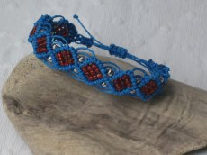 Macramearmband blue and red, Macrameschmuck, Armband, micro Macrame