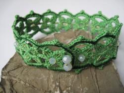 Häkelschmuck, Halsband,  Choker green, Textilschmuck, Häkel Halsband, gehäkeltes Halsband
