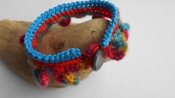 buntes Häkelarmband, Armband, Textilarmband, BoHo Style,