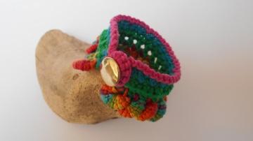 buntes Häkelarmband, Armrock, Armband, Textilarmband, BoHo Style