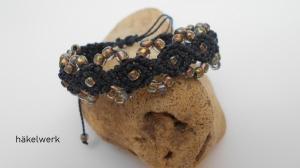 Armband Macrame mit Perlen in anthrazit,  Macrameschmuck, Armband, Makramee Armband