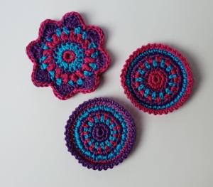 3-teiliges Häkelapplikations-Set bestehend aus Häkelblume und Rosetten, Aufnäher, Blumen, Mandalas