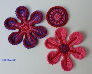 3 teiliges Häkelapplikationsset, Häkelblumen zum dekorieren und verzieren