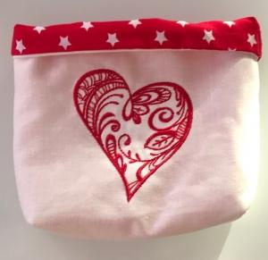 Stoff-Utensilo / Geschenkverpackung zum Valentinstag