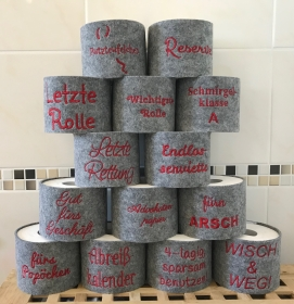 Lustiger Klorollen-Verstecker aus Filz mit Stickerei,  Toilettenpapier-Deko