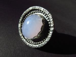 Lässiger auffälliger Chalcedon Silber Ring Gr.6,5 hell blau Cabochon Edelstein Sterling Silber 925