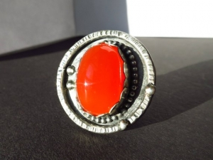 Fanata oranger Karneol Silber Ring Brasilien Gr.8 Achat Cabochon Edelstein Sterling Silber 925