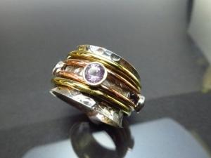 GR10 Lässiger Meditation Sterling Silber 925 Ring Amethyst Bewegliche Ringe Freundschafts Unisex
