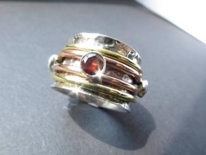 Lässiger Mix GR10 Peridot Granat Meditation Silber 925 Ring Bewegliche Ringe