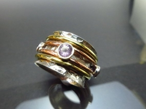 GR9 Lässiger Meditation Sterling Silber 925 Ring Amethyst Bewegliche Ringe Freundschafts Unisex